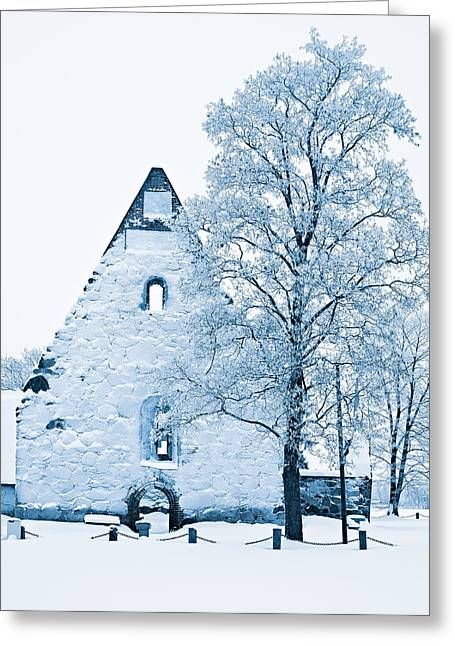 Frosty Ruins Greeting Card