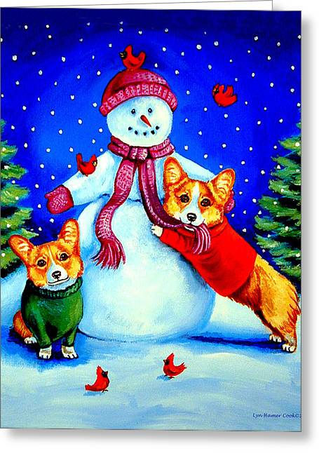 Frosty's Helpers Pembroke Welsh Corgis Greeting Card by Lyn Cook