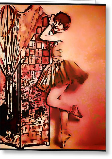 Greeting Card featuring the mixed media Frou Frou by Mary Morawska