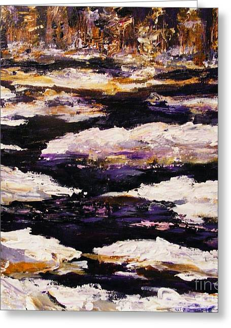 Greeting Card featuring the painting Frozen River by Karen  Ferrand Carroll