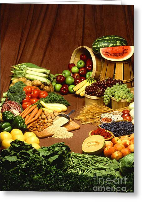 Fruit And Grain Food Group Greeting Card by Photo Researchers