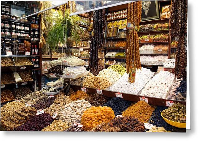 Fruit And Nuts Market Stall, Istanbul Greeting Card