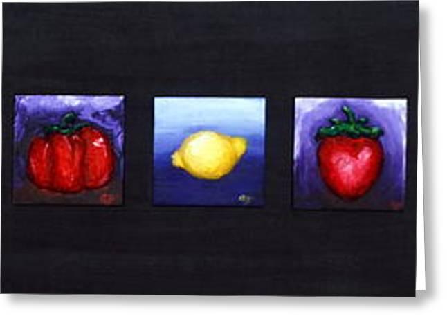 Fruit And Veggies Greeting Card by Alison  Galvan