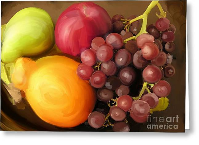 Fruit Aplenty Greeting Card by Anne Ferguson