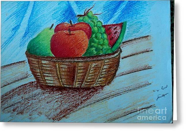 Fruit Basket Greeting Card by Tanmay Singh