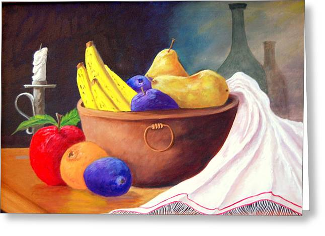 Fruit Bowl By Candle Greeting Card by Janna Columbus