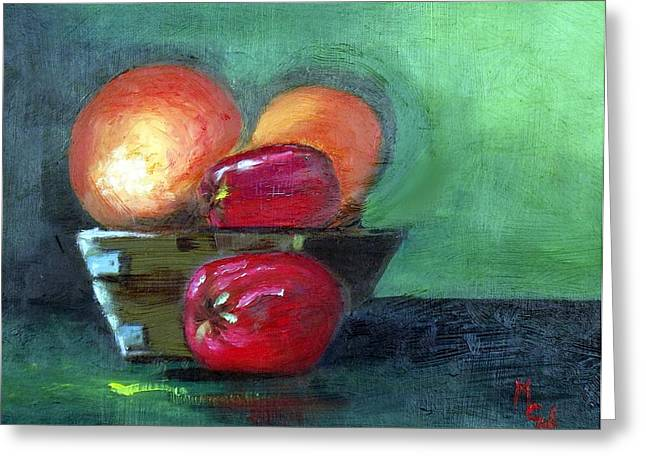 Fruit In A Bowl Greeting Card by Margaret Harmon