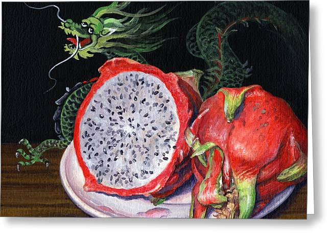 Fruit Of The Dragon Greeting Card by Lynette Cook