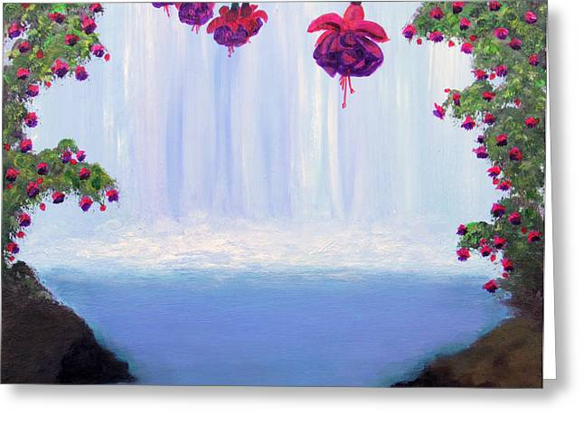 Greeting Card featuring the painting Fuchsia Falls by Janet Greer Sammons