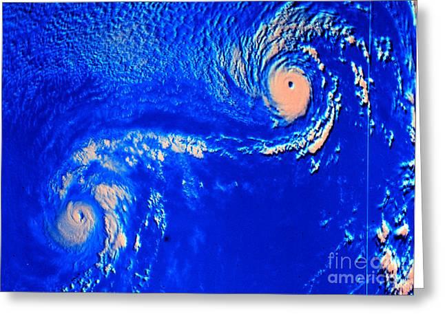 Fujiwhara Effect, Typhoons Ione Greeting Card