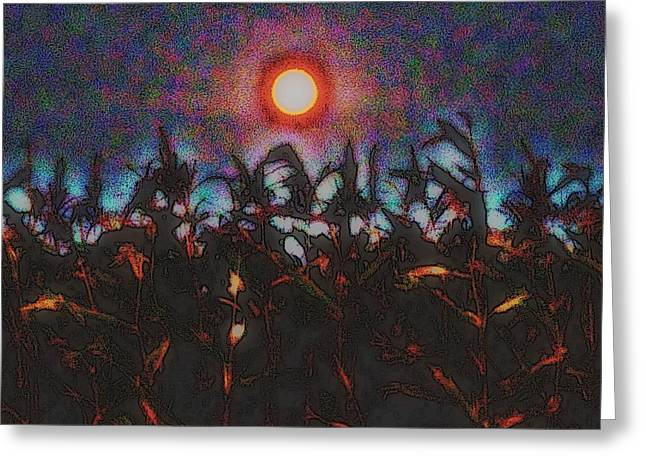 Full Harvest Moon Iowa Greeting Card by Clarice  Lakota