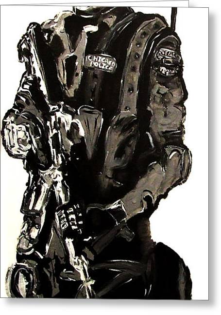 Full Length Figure Portrait Of Swat Team Leader Alpha Chicago Police In Full Uniform With War Gun Greeting Card by M Zimmerman MendyZ