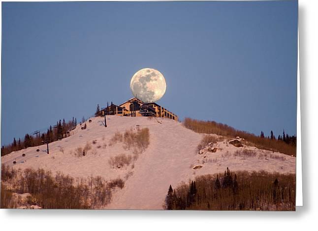 Full Moon Alpenglow Greeting Card