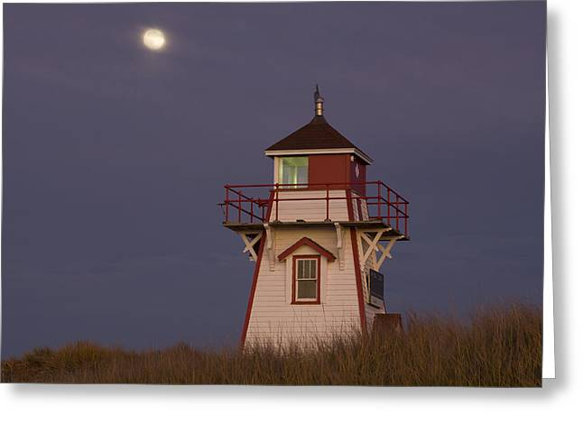 Full Moon And Covehead Lighthouse Greeting Card