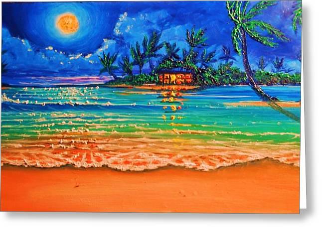 Full Moon Lagoon Greeting Card by Joseph   Ruff