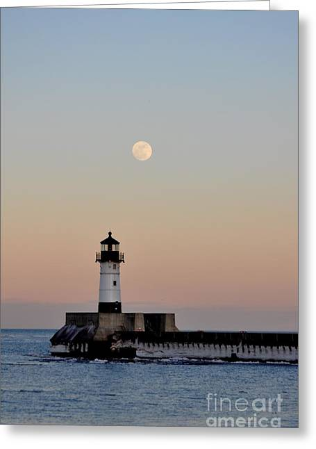 Full Moon Light Greeting Card by Whispering Feather Gallery