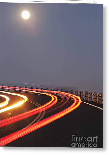 Full Moon Over A Curving Road Greeting Card by Jetta Productions, Inc