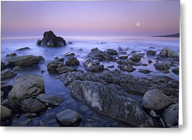 Full Moon Over Boulders At El Pescador Greeting Card