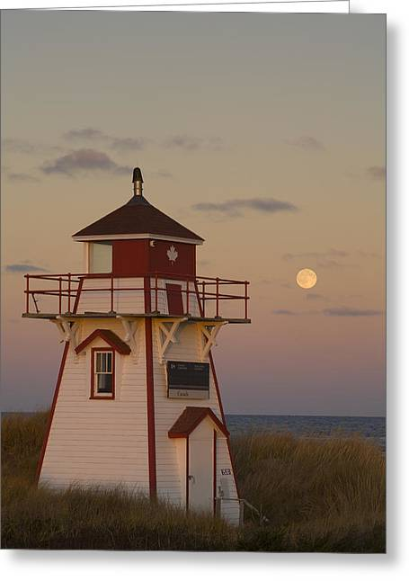 Full Moon Over Covehead Lighthouse Greeting Card