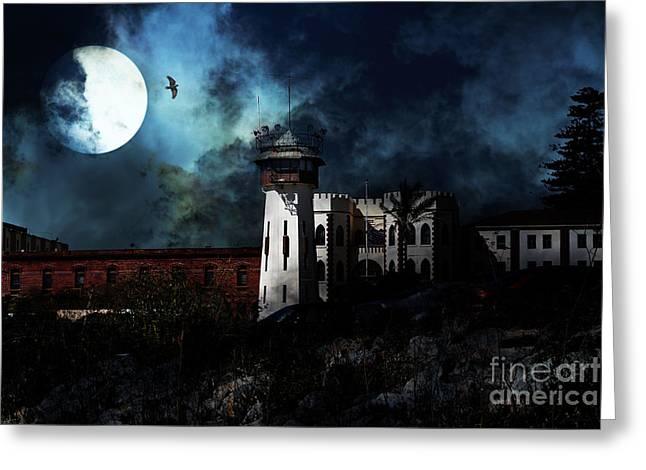 Full Moon Over Hard Time - San Quentin California State Prison - 7d18546 Greeting Card by Wingsdomain Art and Photography