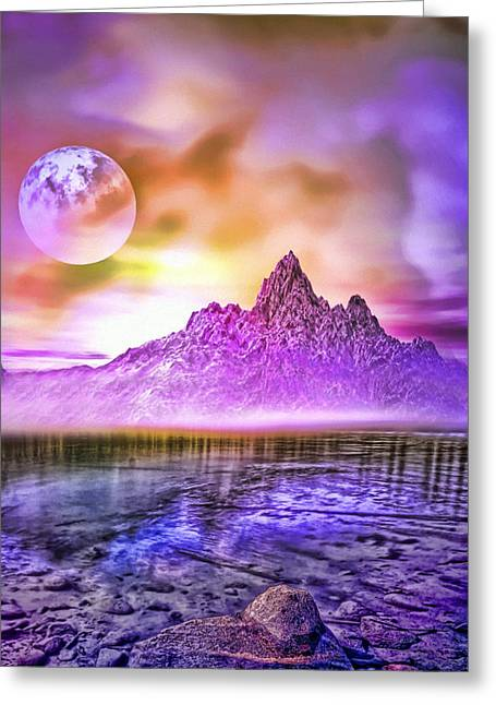 Full Moon Over The Mountains Greeting Card