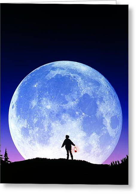 Full Moon Rising Greeting Card by David Nunuk
