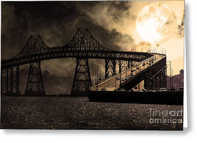 Full Moon Surreal Night At The Bay Area Richmond-san Rafael Bridge - 5d18440 - Sepia Greeting Card by Wingsdomain Art and Photography