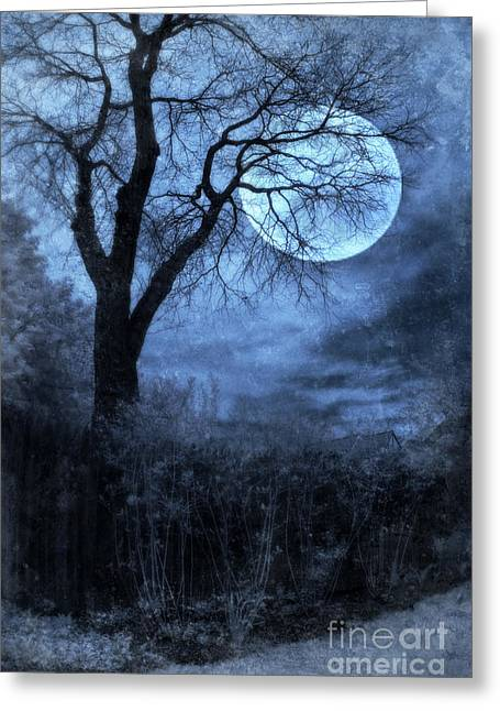 Full Moon Through Bare Trees Branches Greeting Card by Jill Battaglia