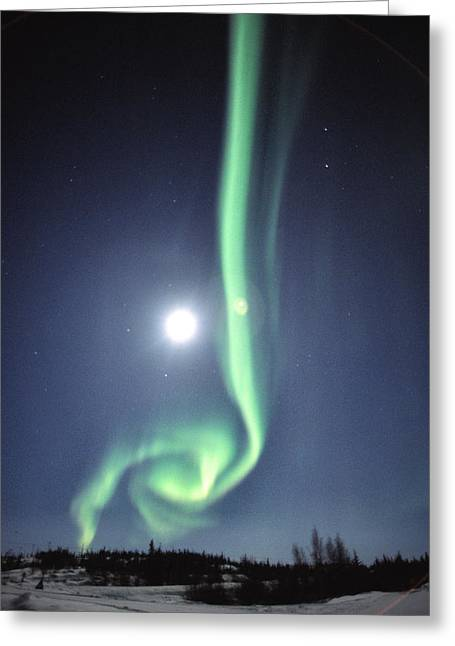Full Moon With Aurora In Yellowknife Greeting Card
