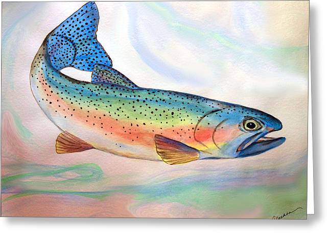 Full On Trout Greeting Card by Alethea McKee