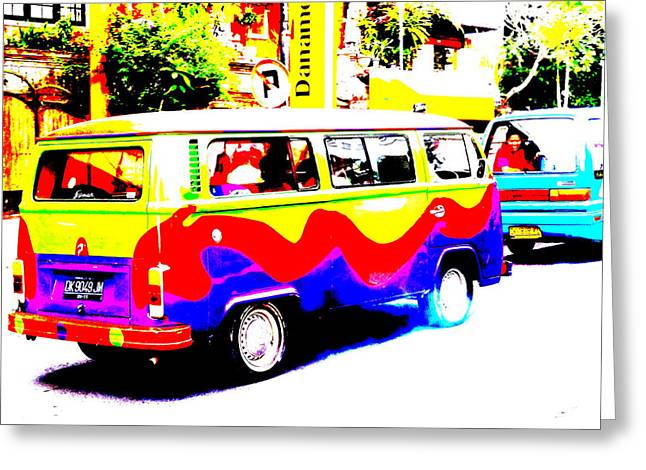 Funky Bali Bus  Greeting Card by Funkpix Photo Hunter