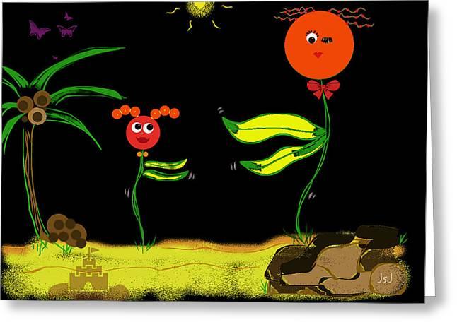 Funky Flowers Dance In The Sun  Greeting Card by Jan Steadman-Jackson