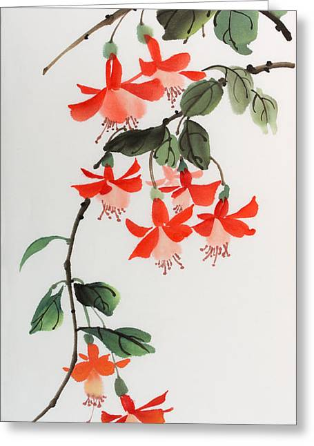 Fuschia Greeting Card by Yolanda Koh