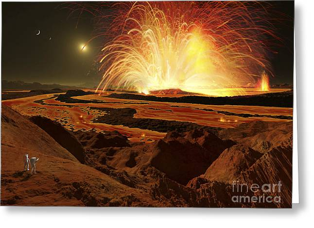 Future Astronauts Observe An Eruption Greeting Card by Ron Miller