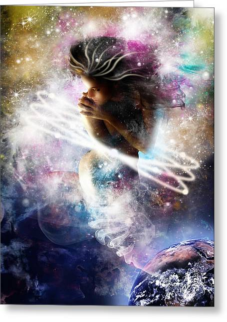 Gaia Genie Greeting Card by Julie L Hoddinott