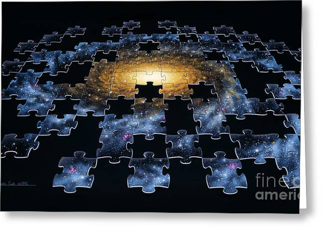 Galaxy Puzzle Greeting Card by Lynette Cook