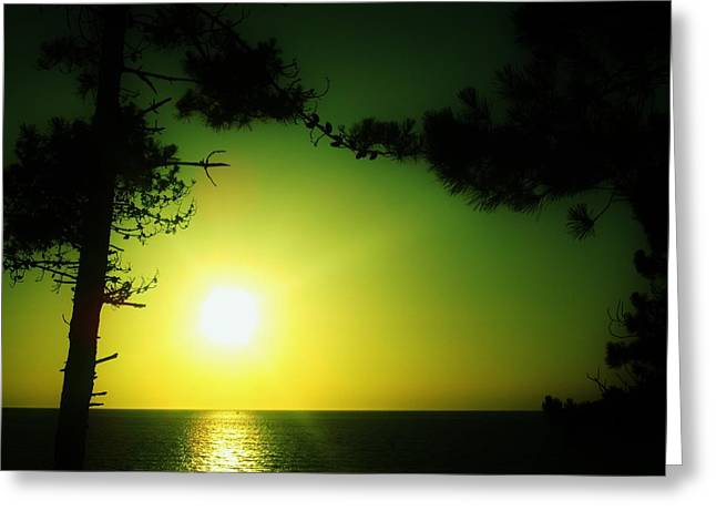 Galician Green Sunset 2 Greeting Card