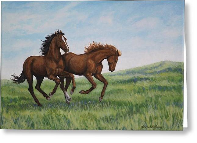Greeting Card featuring the painting Galloping Horses by Penny Birch-Williams