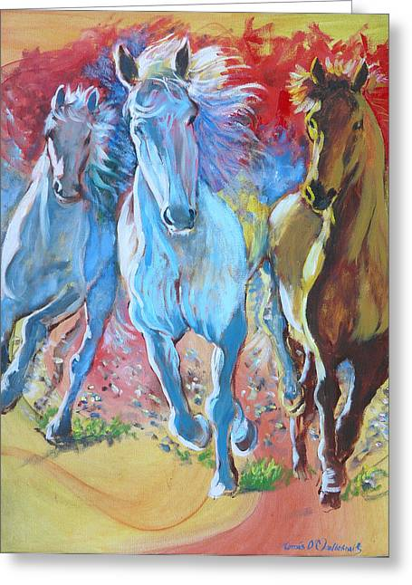 Galloping On Greeting Card by Tomas OMaoldomhnaigh