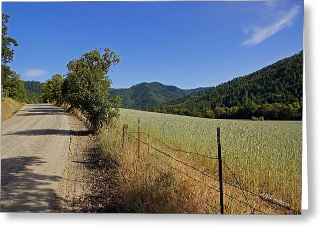Galls Creek Road In Southern Oregon Greeting Card by Mick Anderson