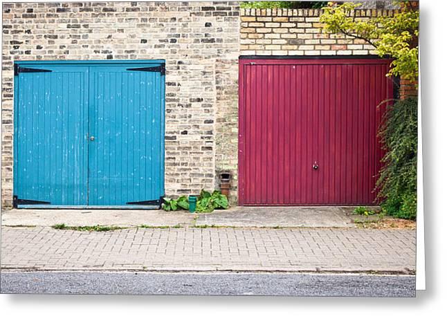 Garage Doors Greeting Card by Tom Gowanlock