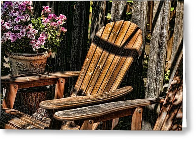 Garden Chairs Greeting Card by Bonnie Bruno