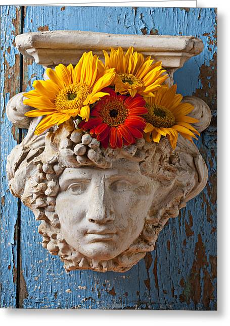 Garden Face Greeting Card by Garry Gay