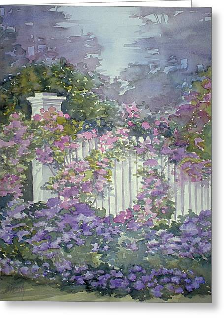 Garden Gate Roses Greeting Card