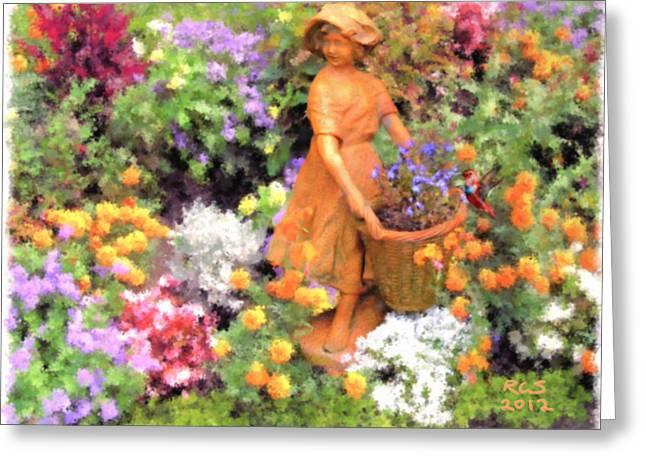 Garden Girl Greeting Card by Richard Stevens