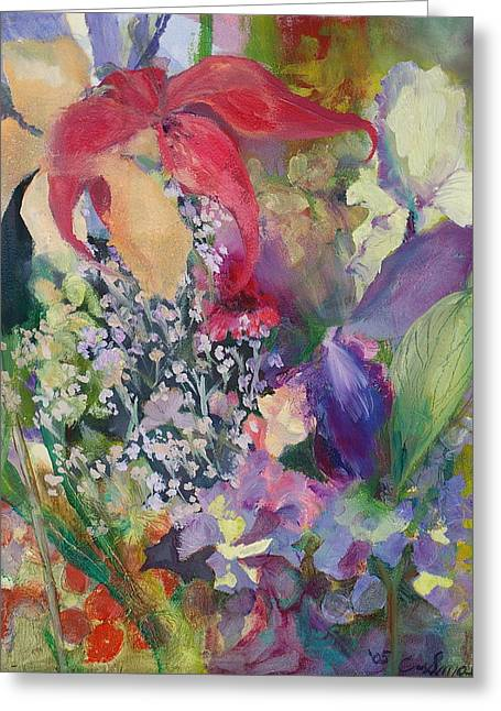 Garden Party Greeting Card by Claudia Smaletz