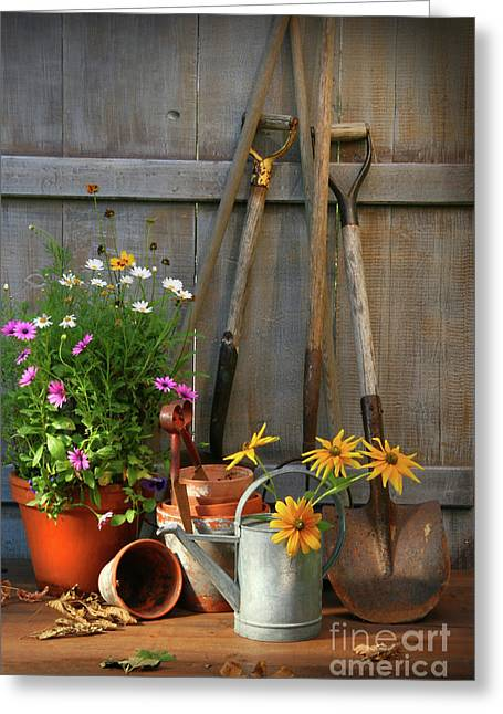 Garden Shed With Tools And Pots  Greeting Card by Sandra Cunningham