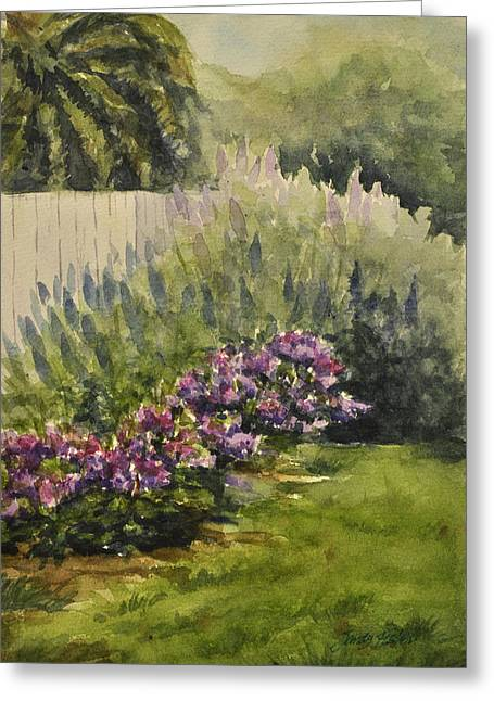 Greeting Card featuring the painting Garden Splendor by Sandy Fisher