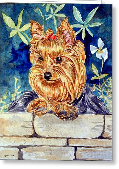 Garden Sprite - Yorkshire Terrier Greeting Card by Lyn Cook