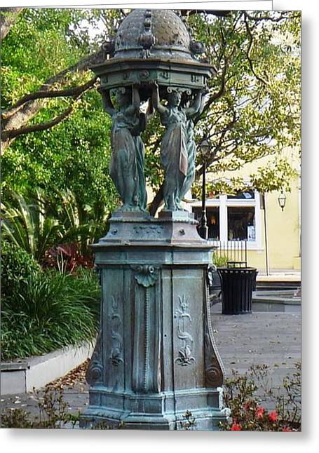 Greeting Card featuring the photograph Garden Statuary In The French Quarter by Alys Caviness-Gober